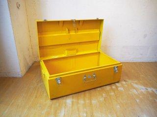 ビンテージスタイル ペインテッド イエロー ブリキ トランク 収納ケース POPなインテリアボックス ★