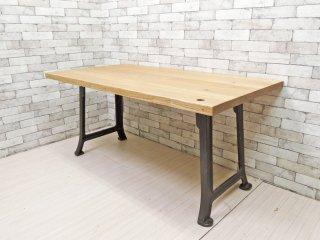 インダストリアルデザイン Industrial Design ワーキングテーブル ダイニングテーブル アッシュ無垢材 アイアンレッグ W150cm ●