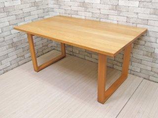 無印良品 MUJI ダイニングテーブル オーク材 ロの字 W150cm シンプルデザイン ●