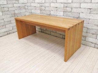 無印良品 MUJI コの字 ベンチ ローテーブル オーク材 無垢材 廃番 W100cm ナチュラル シンプルデザイン ●
