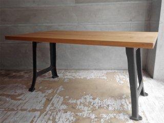 インダストリアルデザイン Industrial Design ワーキングテーブル ダイニングテーブル アッシュ無垢材 アイアンレッグ W150cm ♪