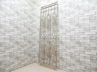 シャビーシック アイアンフェンス ホワイトペイント 門戸 ゲート 建具 H233cm ビンテージデザイン ガーデンインテリア ●