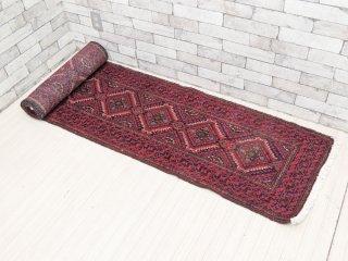 アフガニスタン製 バルーチ Bharuch ラグ ランナー ネイティブ イラン 手織り ●