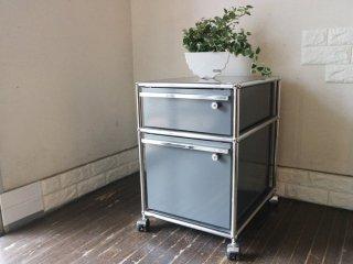 ユーエスエムハラー USM Haller モジュラーファニチャー Modular Furniture ハラーシステム ロールボーイ ワゴン デスクキャビネット アントラサイト 鍵付き  ◎