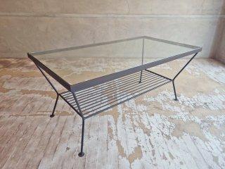 ウニコ unico エディ EDDY ガラス ローテーブル Lサイズ アイアンフレーム ノスタルジックデザイン ♪