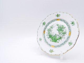 ヘレンド HEREND HVNGARY インドの華 デザートプレート Φ19cm ハンドペイント 白磁食器 ハンガリー C ●