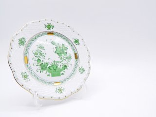 ヘレンド HEREND HVNGARY インドの華 デザートプレート Φ19cm ハンドペイント 白磁食器 ハンガリー D ●