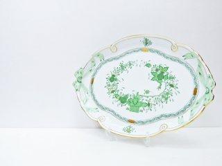 ヘレンド HEREND HVNGARY インドの華 オーバルプレート 大皿 ハンドペイント 白磁食器 ハンガリー ●