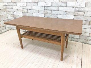 ジャパンビンテージ 木味 ローテーブル デコラトップ天板 マガジンラック付 レトロ 和家具 ●