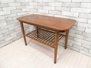 アメリカンビンテージ US Vintage センターテーブル ローテーブル 棚板付 真鍮脚カバー W93.5cm ミッドセンチュリー  ●
