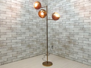 USビンテージ Vintage 真鍮製 3灯式 フロアスタンドライト 照明 ゴールド H148cm ミッドセンチュリー 米国 ●