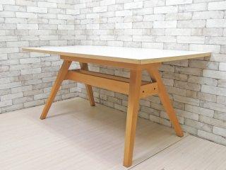 スコービー Skovby ダイニングテーブル SM09 ビーチ材 × メラミントップ ホワイト W160cm デンマーク アクタス Actus 取扱 定価14万円以上 ●