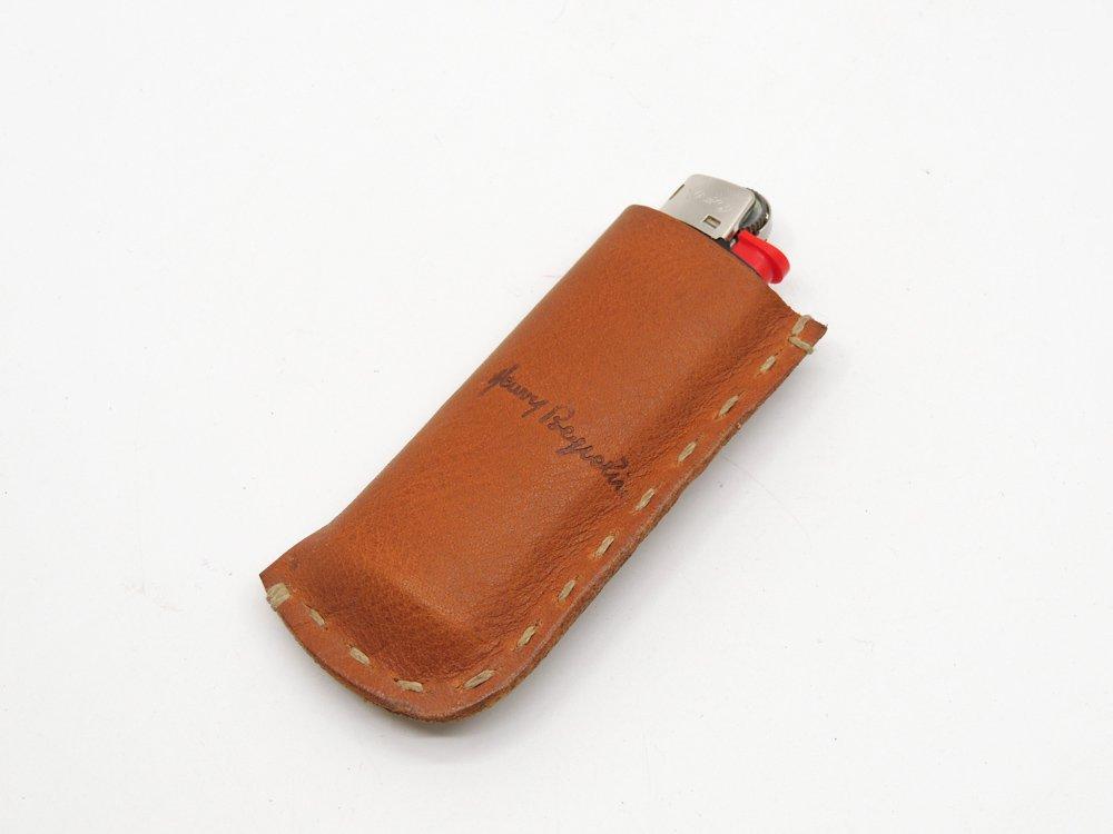 エンリーベグリン HENRY BEGUELIN レザー ライターケース ブラウン 本革 収納袋付 イタリア ●