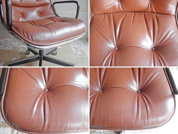 ノル ノール Knoll ポロックチェア Pollock Chair エグゼクティブチェア アーム付き 5本脚 キャスターベース レザー 本革 ブラウン デスクチェア ミッドセンチュリー ♪