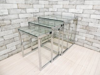 ボーコンセプト BoConcept オッカ Occa ネストテーブル 3点セット サイドテーブル ガラストップ クロームメッキ モダンデザイン ●
