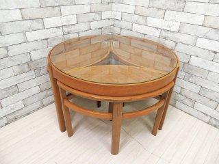 ネイサン ファニチャー NATHAN Furniture チーク材 ガラストップ ネストテーブル 4点セット ビンテージ 英国家具 ●