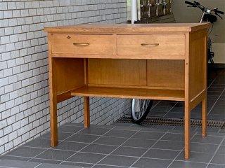 ジャパンビンテージ Japan Vintage 木味 デスク 作業台 抽斗2杯 昭和レトロ ■
