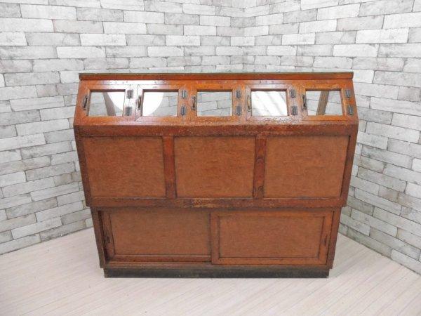 ジャパンビンテージ Japan Vintage お煎餅屋さん ガラス ショーケース ディスプレイケース 飾り棚 古い木味 レトロ ●