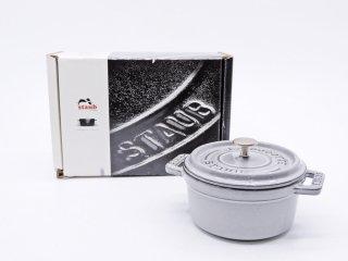 ストウブ staub ミニ ピコ ココット ラウンド グレー系 ホーロー鍋 両手鍋 10cm 0.25L 箱付 ●
