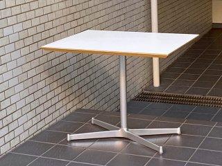 ディーアンドデパートメント D&DEPARTMENT カフェテーブル Cafe Table ホワイトメラミン天板 クロームメッキ X脚 ミッドセンチュリー ■