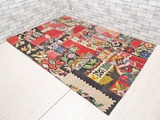 トルコ製 ベッサラビア キリム 花柄 パッチワーク 絨毯 ラグ 工芸品 160×224cm 大判 ●