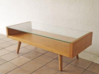 ウニコ unico エッコ ECCO チェリー材 ガラス天板 ローテーブル センターテーブル 北欧スタイル ◇