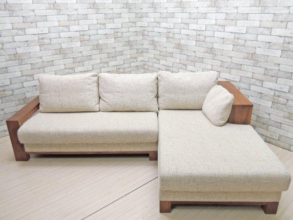 柏木工 KASHIWA カウチソファ ウォールナット無垢材 フェザークッション ナチュラルモダンスタイル ●