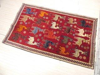 イラン製 カシュカイ族 ラグ ペルシャ絨毯 鹿のモチーフ 190×114cm 手織り オリエンタル ●