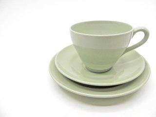 スポード SPODE フレミッシュグリーン FLEMISH GREEN カップ&ソーサー & プレート Φ16cm トリオセット 陶器 食器 UKビンテージ Vintage ●
