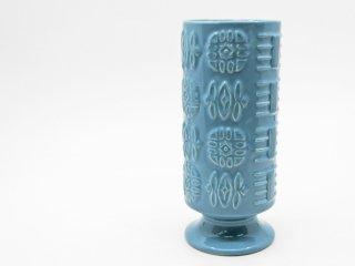 シルバック SYLVAC 陶製フラワーベース ブルー 花瓶 花器 UKビンテージ Vintage 英国 ●