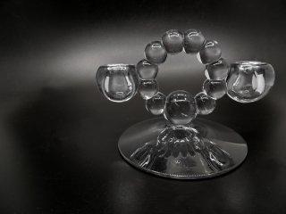 インペリアル Imperial キャンドルウィック Candlewick ダブルキャンドルスタンド クリアガラス 2灯 USビンテージ Vintage A ●
