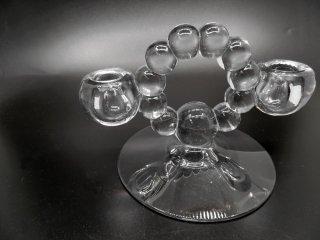 インペリアル Imperial キャンドルウィック Candlewick ダブルキャンドルスタンド クリアガラス 2灯 USビンテージ Vintage B ●
