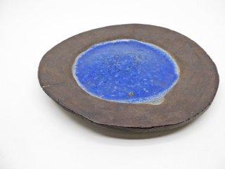 浜名一憲 皿 個展「壺と海の漂着物」作品 プレート 青釉 Φ23.5cm 現代作家 希少 ●