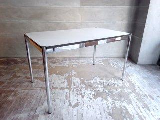 USMモジュラーファニチャー USMハラー USM Haller ワーキングテーブル カンファレンステーブル ダイニングテーブル W125cm ホワイトラミネート天板 ♪