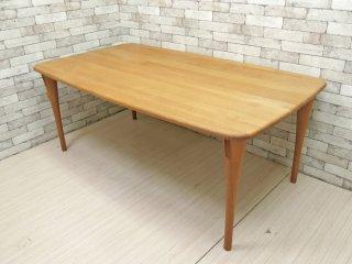 飛騨産業 HIDA オーク無垢集成材 ダイニングテーブル 反り止め W180cm ナチュラルデザイン ●