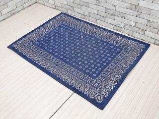 アクメファニチャー ACME Furniture フラワーバンダナラグ Flower Bandanna Rug ブルー 140×100cm ノスタルジックデザイン ●