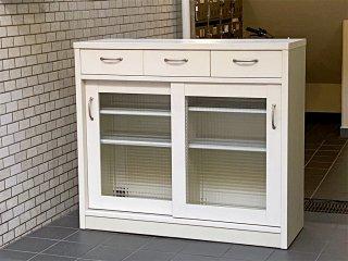 ビーカンパニー B-COMPANY 対面キッチンカウンター キャビネット チェッカーガラス ホワイト ■