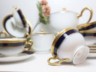 大倉陶園 OKURA 瑠璃片葉金蝕 23ピース ティーセット オークラ  C&S 参考価格44万 ◎