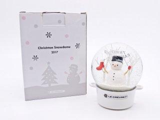 ルクルーゼ LECREUSET クリスマススノードーム 2017 Christmas Edition ホワイト 雪だるま  元箱付 非売品 ●