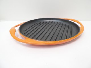 ルクルーゼ LE CREUSET グリル ロンド Grill Rondo オレンジ Φ25cm 両手鍋 ホーロー ●