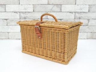 フランスビンテージ French Vintage ラタン編みバスケット ピクニックバスケット ランチボックス カントリースタイル アウトドア ●