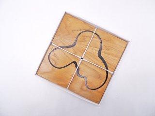 イッタラ iittala アルヴァ・アアルト コレクション Alvar Aalto Collection ウッドコースター 4枚セット オーク材 箱付 フィンランド 北欧雑貨 ●