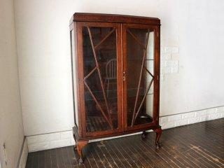 イギリス アンティーク ブックケース 英国 ガラス キャビネット 本棚 オーク材 1930's ヴィンテージ ◎