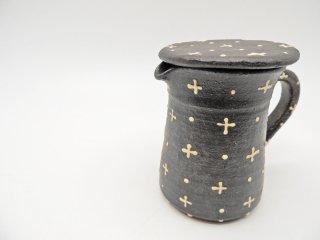 高須愛子 イッチンドットクロス柄 コーヒーサーバー ポット 蓋付 ブラック 現代作家 陶器 ●