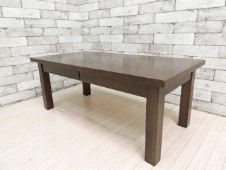 無印良品 MUJI 木製 引出し付き ローテーブル センターテーブル タモ材 ブラウン W90cm 廃番 ●