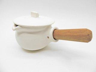 馬場勝文 ミルクパン 白磁マット 取手付 チーク材 陶器 現代作家 ●