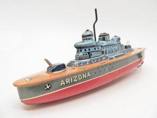 米澤玩具 ブリキ 船 N-158 ARIZONA フリクション 玩具 昭和レトロ ●
