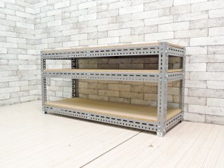 インダストリアルデザイン Industrial Design スチールラック ワイドシェルフ 店舗什器 工業系 3段グレー ●