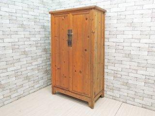 ビンテージ Vintage パイン材 キャビネット シェルフ H170cm カントリースタイル リメイク家具 ●