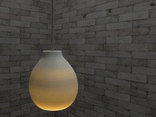 卯山窯 信楽透器 陶ライト TOU-LIGHT SMALL ペンダントライト 線香花火 ホワイト 信楽焼 美品 箱付 B ●